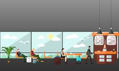 Cafe and waiting lounge room in airport terminal Stock Illustration