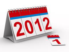 2012 year calendar on white backgroung. Isolated 3D image Stock Illustration