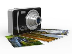 Compact digital camera on white. Isolated 3D image - stock illustration