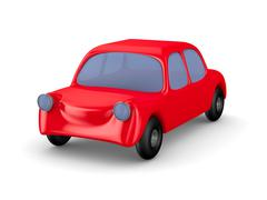 Red car on white background. Isolated 3D image Stock Illustration