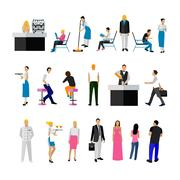 Vector set of restaurant employees and visitors. People icons isolated on white - stock illustration