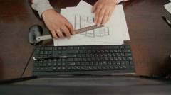 Top view .Designer working on a project. Stock Footage