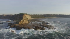 Aerial Rocky Coast - Track In Stock Footage