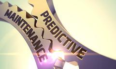 Predictive Maintenance Concept. Golden Cogwheels - stock illustration