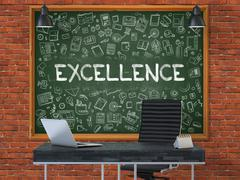 Excellence Concept. Doodle Icons on Chalkboard Stock Illustration