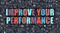 Improve Your Performance Concept. Multicolor on Dark Brickwall - stock illustration