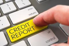 Hand Touching Credit Report Keypad Stock Illustration