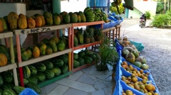 LAS TERRENAS, SAMANA, DOMENICAN REPUBLIC FEBRUARY 06 Fruit market with melons Stock Footage
