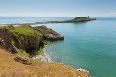 Worms Head Rhossili The Gower peninsula Wales UK small tidal island Stock Photos