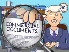 Commercial Documents through Magnifier. Doodle Style - stock illustration