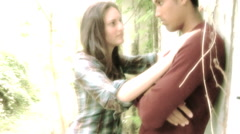 Edgy Mixed Couple In Late Teens Stock Footage