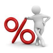 Men push percent on white background. Isolated 3D image Stock Illustration