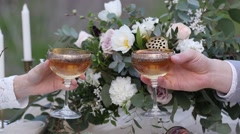 Just married bride and groom clink glasses with champagne closeup Stock Footage
