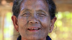 Portrait Chin woman with spider tattoo , Mrauk U, Myanmar. Burma Stock Footage