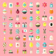 Easter flat style icons - stock illustration