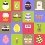 Easter flat stylized icon set 1 - stock illustration
