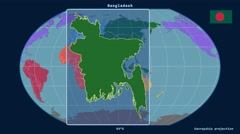 Bangladesh - 3D tube zoom (Kavrayskiy VII projection). Continents - stock footage