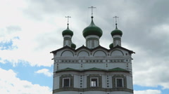Women's Orthodox Church with green domes Stock Footage