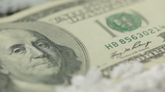 Close Up Money, Drugs, Heroin, dollars, syringe - stock footage