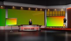 Tricaster Psd TV Studio Set for Election - PSD template