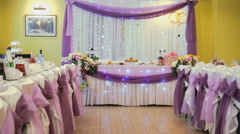 Stylish decoration of the hall for a wedding Stock Footage