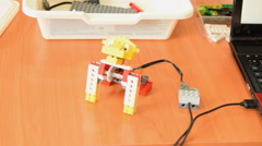 Robot lion made from educational kit - stock footage