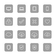 line web icon set on gray rounded rectangle - stock illustration
