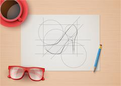 Creative workplace of fashion designers. Top view - stock illustration