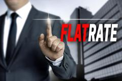 flatrate touchscreen is operated by businessman - stock photo