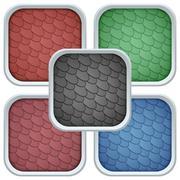 Square Icons Bitumen Shingles Cover on Roof - stock illustration