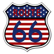 Route 66 Sign US Flag Stock Illustration