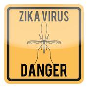 Zika virus warning square sign - stock illustration