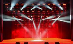 Illuminated concert stage - stock photo