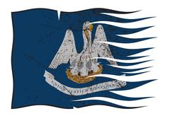 Louisiana State Flag Wavy And Grunged - stock illustration