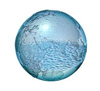 Planet Earth made of glass with a some water inside. Piirros