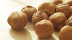 A pile of hazelnuts are rolling on a table. Close up. Macro shot. Stock Footage