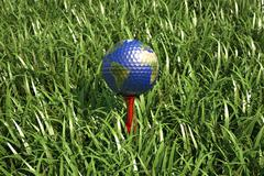 Golf ball on tee in the grass, with earth planet map. - stock illustration