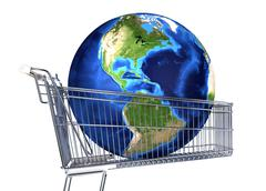 Planet Earth into supermarket trolley. Americas view. On white background. Cl Stock Illustration