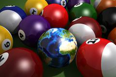 Poll table with balls and one of them as Earth. - stock illustration