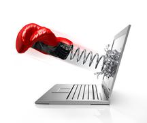 Boxing glove with spring splashing out from computer screen. - stock illustration