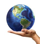Man's hand with earth globe on it. On white background - stock illustration