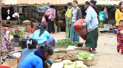 People buy and sell products on the street food market, Myanmar. Burma Stock Footage