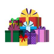 Big pile of colorful wrapped gift boxes Stock Illustration