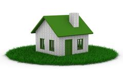 House on grass. Isolated 3D image on white - stock illustration