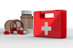 First aid kit on white background. Isolated 3D image Stock Illustration