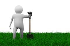 Man with shovel on grass. Isolated 3D image - stock illustration