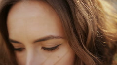 Touching hair close-up Stock Footage