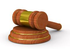 Auction gavel on white. Isolated 3D image Piirros