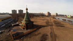 Aerial view. Wooden orthodox temple. 4K. Stock Footage