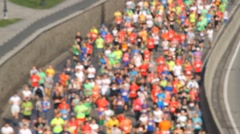 City marathon blurred runners of people Stock Footage